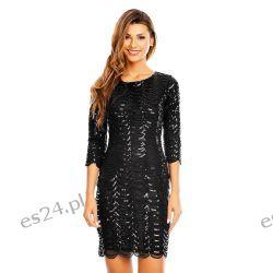 Śliczna czarna sukienka cekiny  XL Sukienki wieczorowe