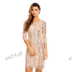 Śliczna  sukienka cekiny kolor szampana M