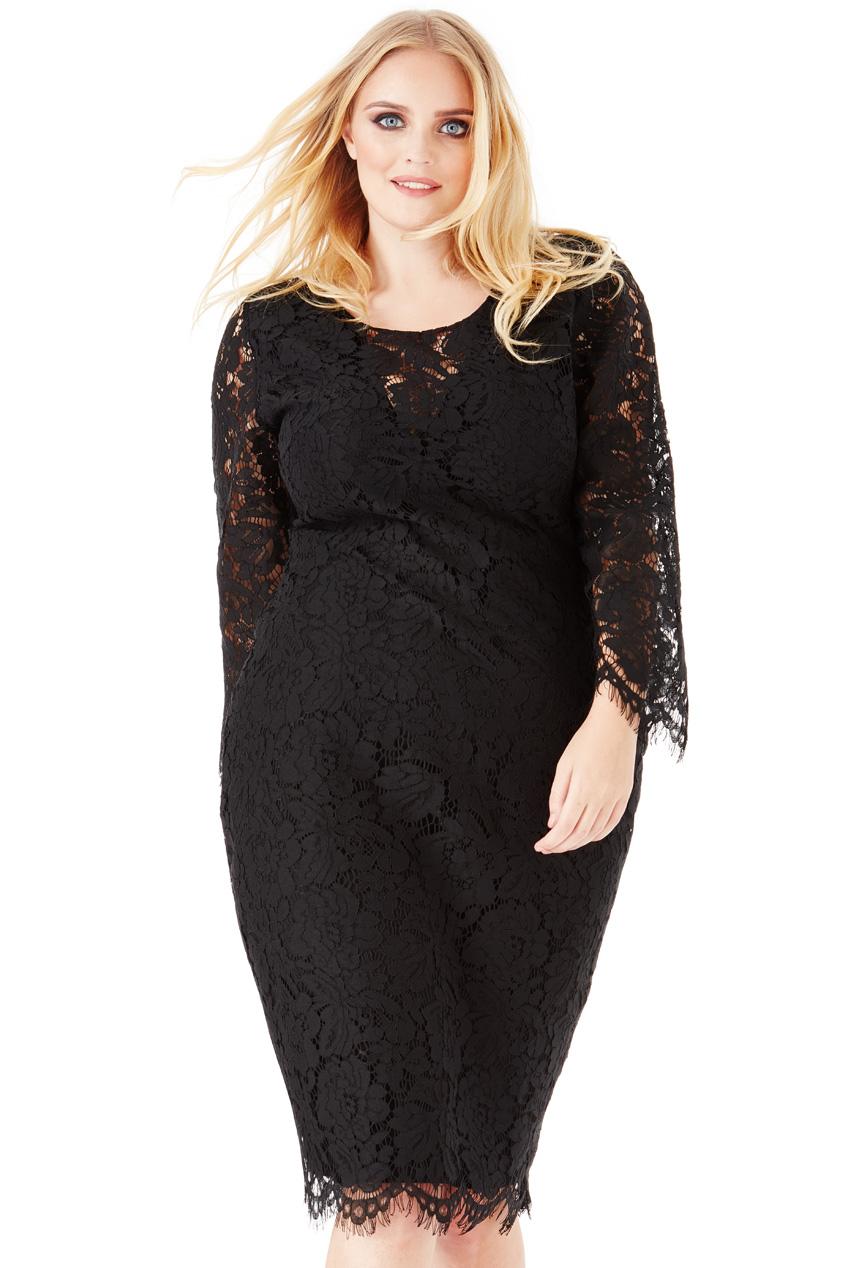 ba723920f1 Elegancka sukienka z koronki czarna 50 na Bazarek.pl