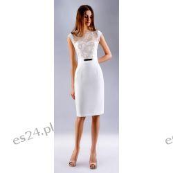 """Seksowna sukienka """"Victoria"""" duże ecru-złoto 46"""