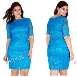 Śliczna turkusowa sukienka z koronki 44
