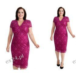 Seksowna sukienka z koronki purpurowa 46