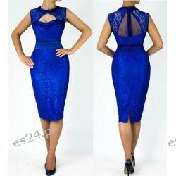 """Seksowna sukienka """"Eliza"""" duże rozmiary szafir 46"""