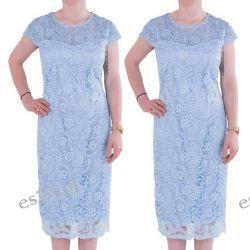 Śliczna sukienka z koronki Gracia błękit 44