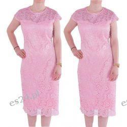 Śliczna sukienka z koronki Gracia róż 44
