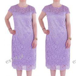 Śliczna sukienka z koronki Gracia fiolet 44
