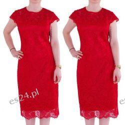 Śliczna sukienka z koronki Gracia czerwień 44