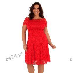 Śliczna czerwona sukienka z koronki 46 Sukienki mini