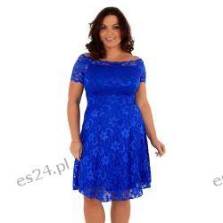 Śliczna szafirowa sukienka z koronki 46 Sukienki wieczorowe