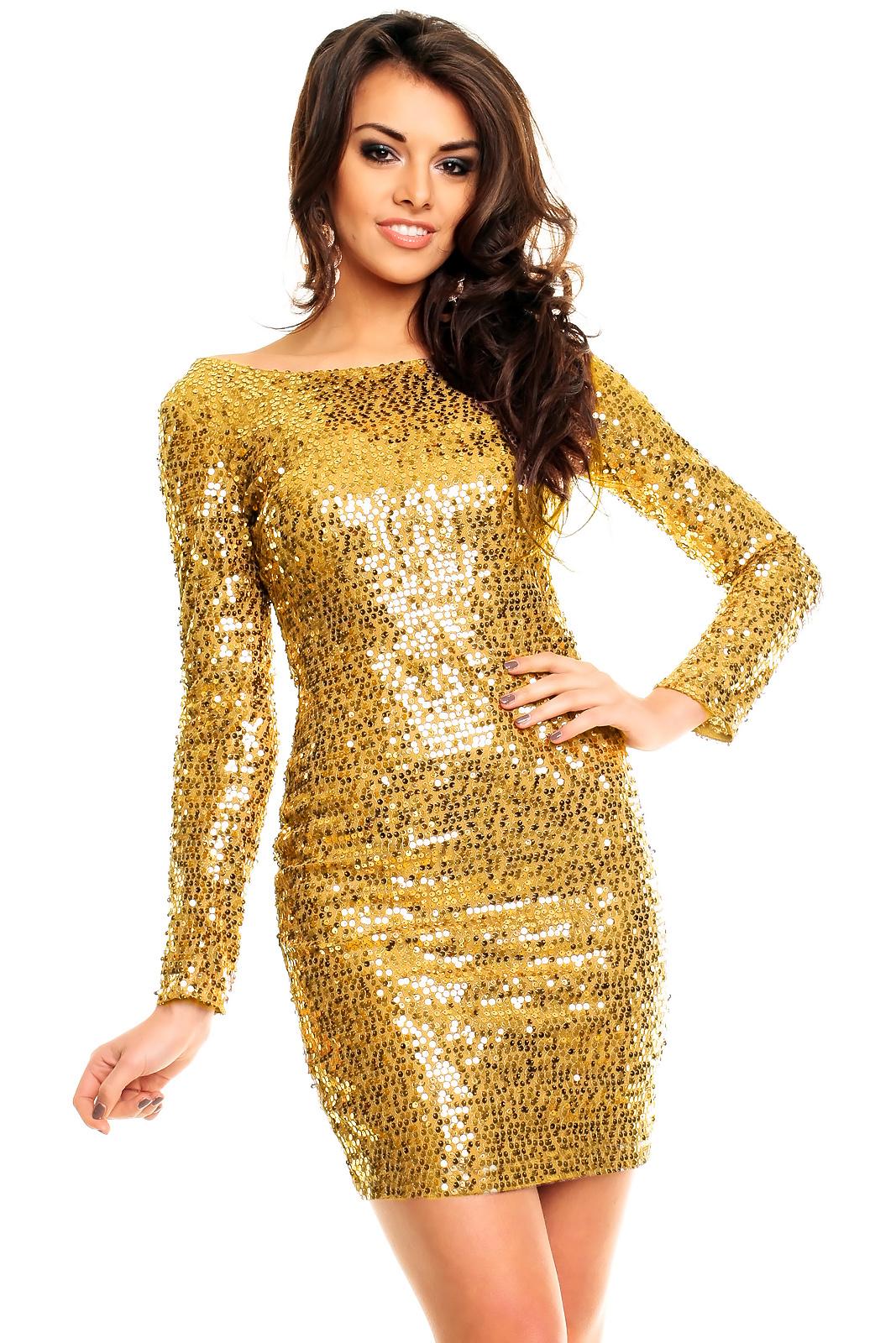 8e6f3b611f Śliczna złota sukienka cekiny długi rękaw M na Bazarek.pl
