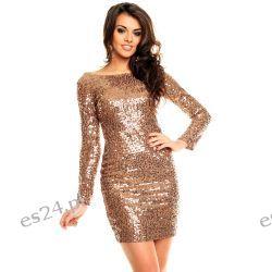 Śliczna brązowa sukienka cekiny długi rękaw M Odzież, Obuwie, Dodatki