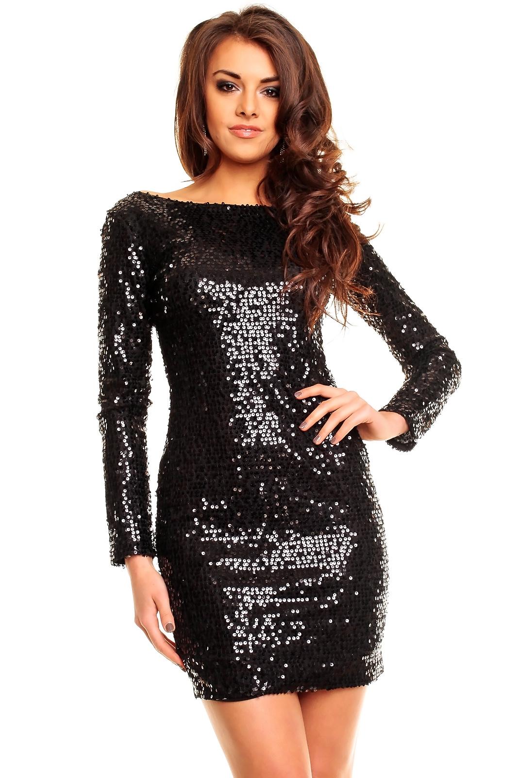 0193ebe4 Śliczna czarna sukienka cekiny długi rękaw L na Bazarek.pl
