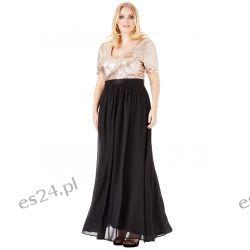 Zjawiskowa sukienka cekiny szyfon maxi czarno-złota 46 Sukienki wieczorowe