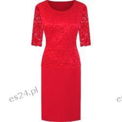 Piękna sukienka Bożena czerwień 46