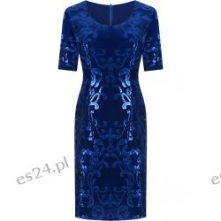 Piękna sukienka z cekinami Olga szafir 44