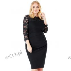 Elegancka sukienka z koronką czarna 50