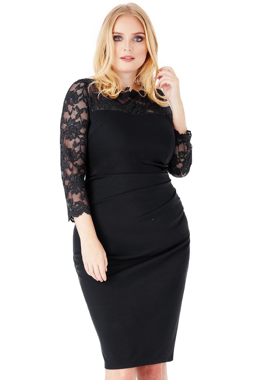 75285569f86353 Elegancka sukienka z koronką czarna 52 na Bazarek.pl