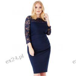 Elegancka sukienka z koronką granat 50 Sukienki mini