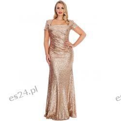 Zjawiskowa sukienka z cekinów złota 46 Sukienki wieczorowe