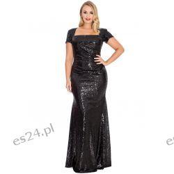 Zjawiskowa sukienka z cekinów czarna 48