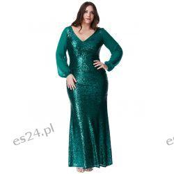 Zjawiskowa sukienka z cekinów zielona 46