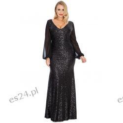 Zjawiskowa sukienka z cekinów czarna 52