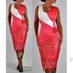 """Seksowna sukienka """"Monique"""" koral duże rozmiary 44"""