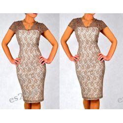 Śliczna sukienka Crucyfied beż 44 Sukienki wieczorowe
