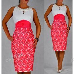 """Seksowna sukienka """"Clementine"""" duże rozmiary koral 48"""