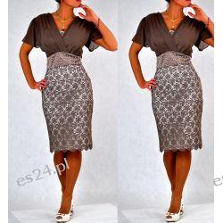 "Seksowna sukienka ""Arkadia"" duże rozmiary brąz 44 Sukienki wieczorowe"