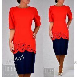 Elegancka sukienka Anastazja czerwień-granat 44 Sukienki wieczorowe