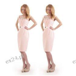 """Seksowna sukienka """"Victoria"""" duże rozmiary róż 40 Sukienki midi"""