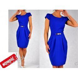 Śliczna sukienka szafirowa Spors 40