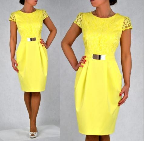 ab8c170a06 Elegancka sukienka Augusta żółta 40 na Bazarek.pl