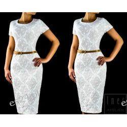 Elegancka sukienka Sandra ecru 48 Sukienki wieczorowe