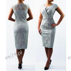 """Seksowna sukienka """"Adria"""" duże rozmiary szara 46 Sukienki wieczorowe"""