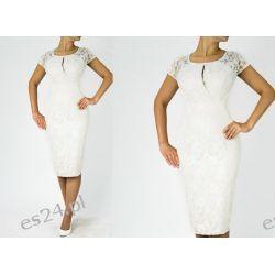 """Seksowna sukienka """"Adria"""" duże rozmiary ecru 44"""
