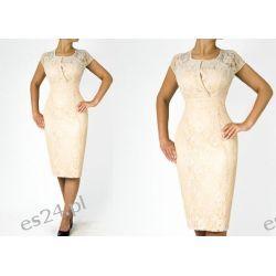 """Seksowna sukienka """"Adria"""" duże rozmiary beżowa 44 Sukienki wieczorowe"""