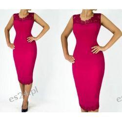 """Seksowna sukienka """"Joanna"""" duże rozmiary amarantowa 46 Sukienki wieczorowe"""