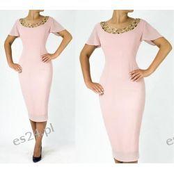 """Seksowna sukienka """"Marlena"""" duże rozmiary pudrowy róż 44"""
