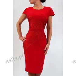 Elegancka sukienka Daria czerwień 44 Szaliki i szale