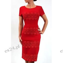 Elegancka sukienka weronika czerwień 44 Sukienki midi