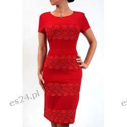 Elegancka sukienka weronika czerwień 50 Sukienki wieczorowe