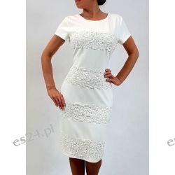 Elegancka sukienka weronika ecru 48