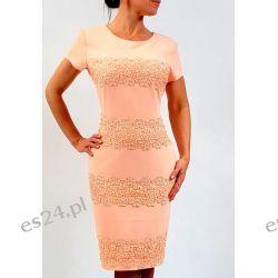 Elegancka sukienka weronika morela 46 Sukienki wieczorowe