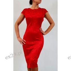 Elegancka sukienka Greta czerwień 48