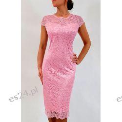 Elegancka sukienka Greta róż 50 Odzież, Obuwie, Dodatki