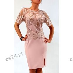 Elegancka sukienka Ewelina róż 48