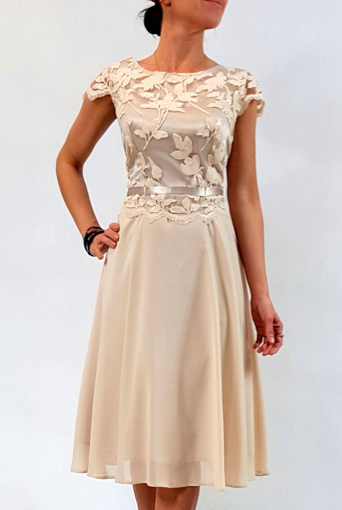 02138bc244 Elegancka sukienka Amanda beż 46 na Bazarek.pl