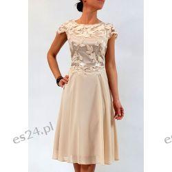 Elegancka sukienka Amanda beż 46 Sukienki wieczorowe